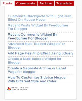 advanced multi tabbed widget for blogger