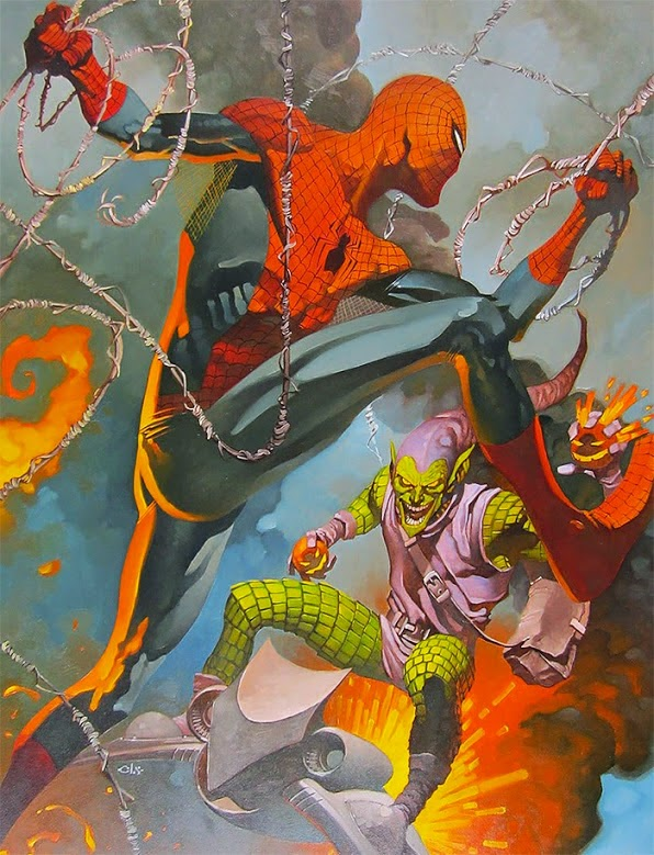 Spider-man vs Green Goblin oil painting