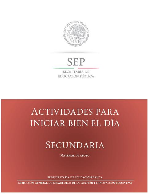 ACTIVIDADES PARA INICIAR BIEN EL DÍA. SECUNDARIA.