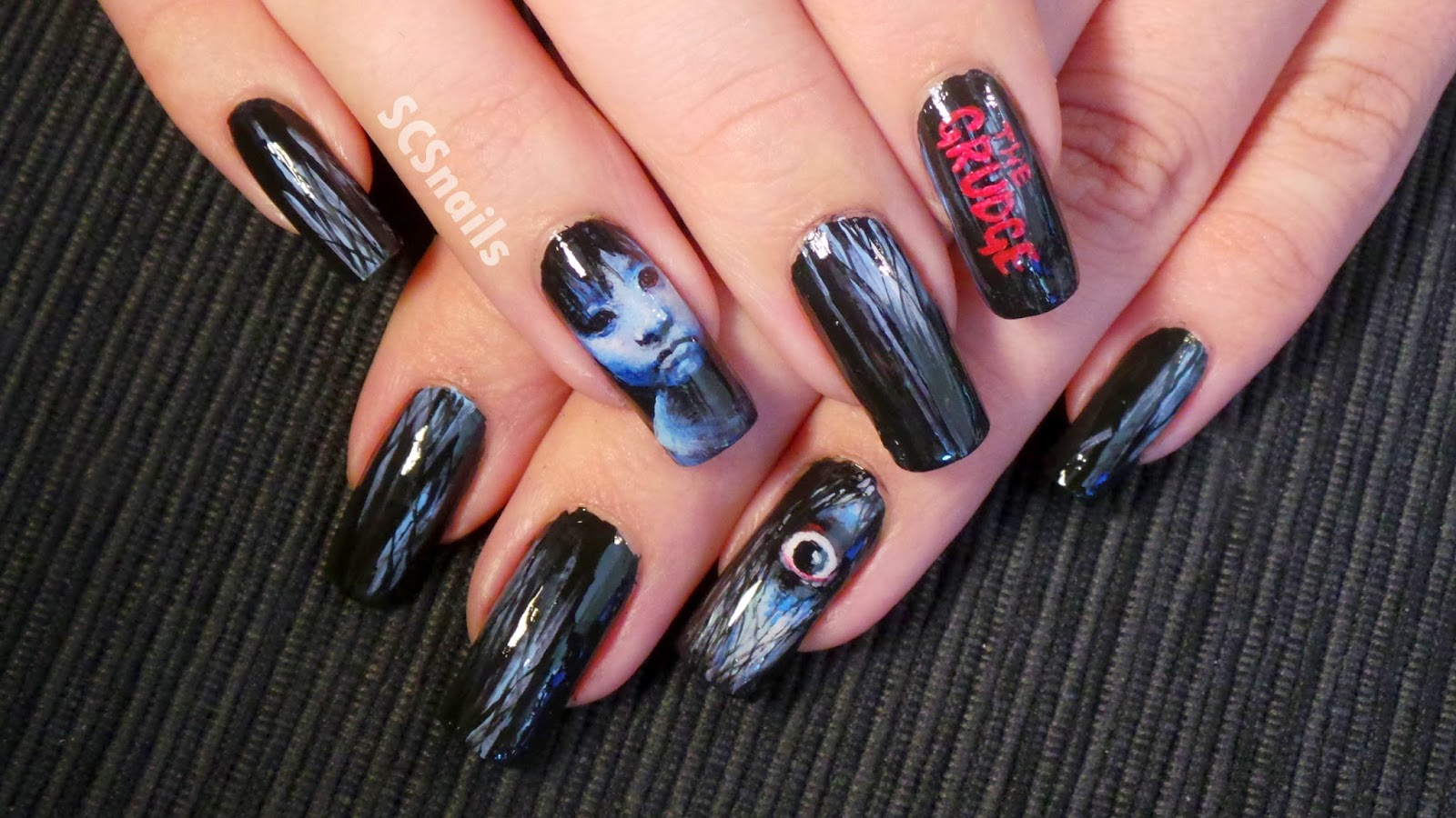 SCS nails: the Grudge nail art
