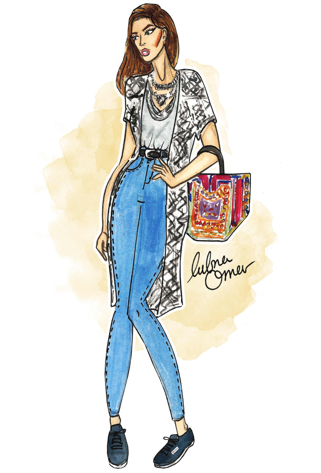 back to school outfit inspiration feeling festive illustration by lubna omar