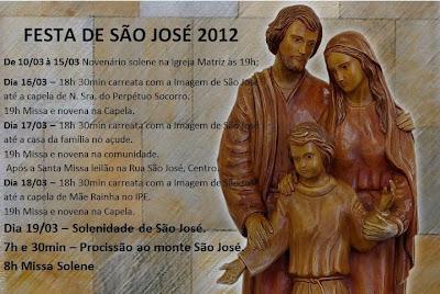 Programação do novenário em honra a São José, A. Afonso - RN