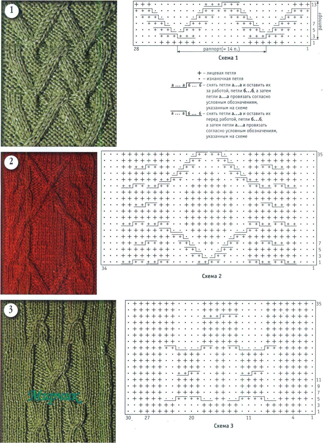 Схемы для вязания на спицах рельефных узоров спицами 86