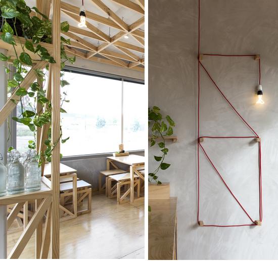 decoracao cafeteria, cores pasteis, tons pasteis, madeira, coffee, luminaria, coluna