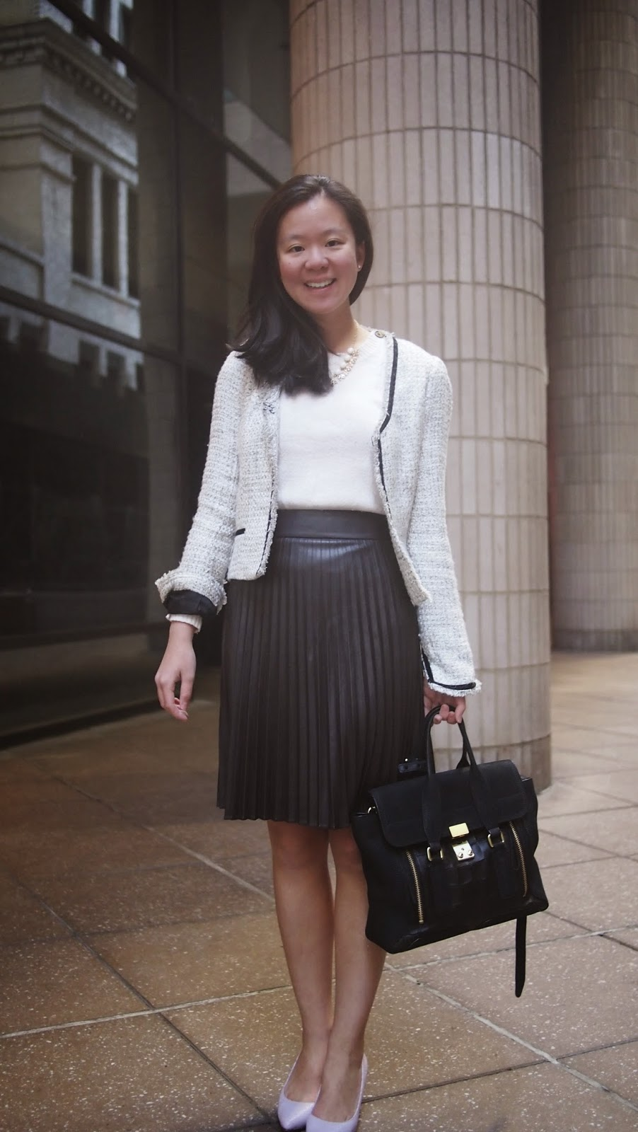 how to wear a leather skirt to work