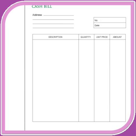 BILL BOOK  Bill Book Template