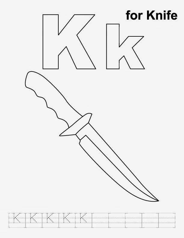 Printable Alphabet Coloring Pages Knife