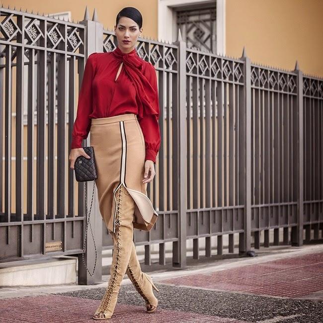 Zara 2014 AW Nude Slit Skirt
