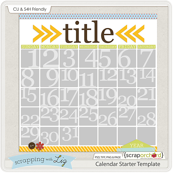 Scrapping With Liz: Photo Mats And Calendar Templates