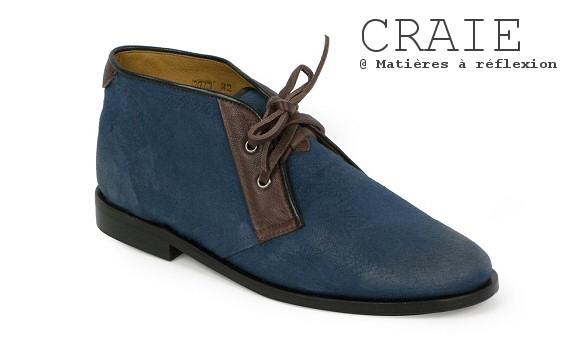 Desert boots homme toile bleu enduite cuir Craie