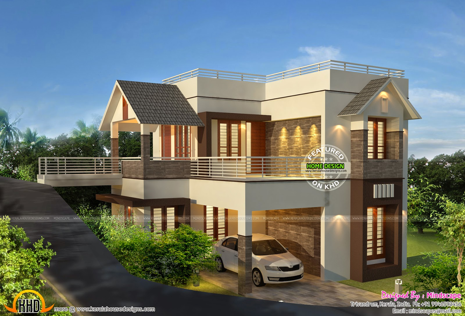 Awesome modern villa keralahousedesigns for Modern house plans for 1600 sq ft