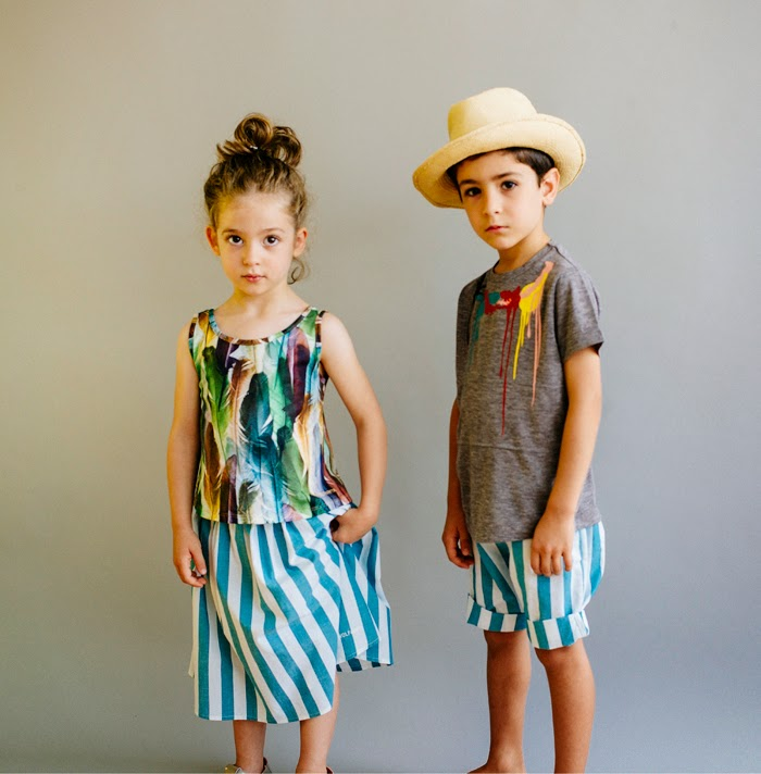 Wolf & Rita Spring-Summer 2015 kids fashion - stripes and feathers