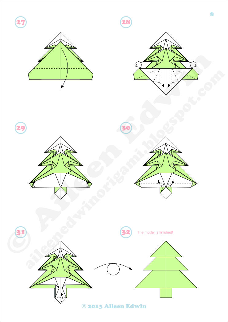 Origami Christmas Tree Diagrams (Aileen Edwin)