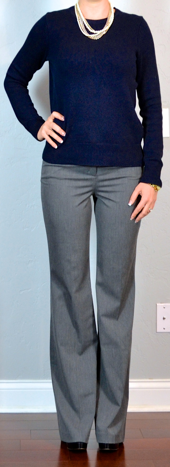 Outfit post navy side zipper sweater grey pants layered necklace | Outfit Posts