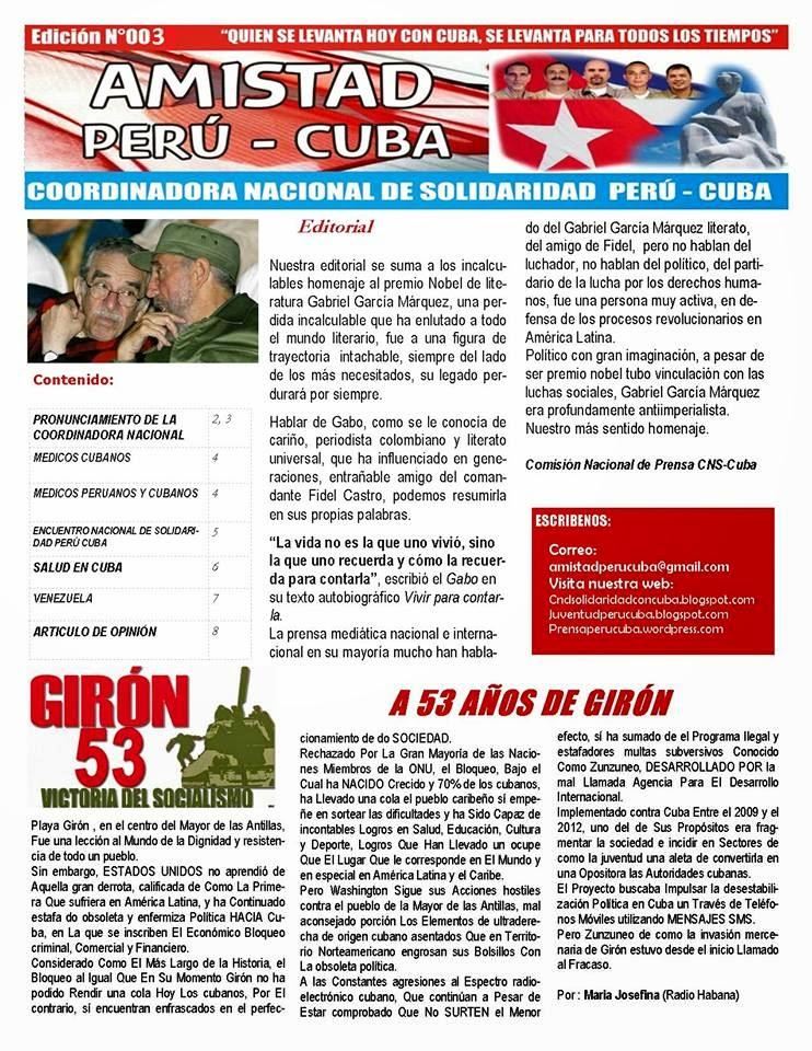 """BOLETÍN Nº003 """"AMISTAD PERÚ CUBA"""""""