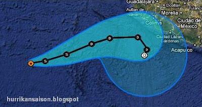 IRWIN ist wieder ein Tropischer Sturm - mit etwas Glück bleibt Mexiko verschont, Irwin, Pazifik, aktuell, Verlauf, Vorhersage Forecast Prognose, Oktober, 2011, Hurrikansaison 2011, Mexiko,