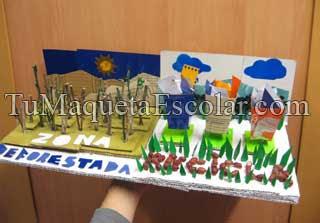 maqueta de deforestacion en carton y papel