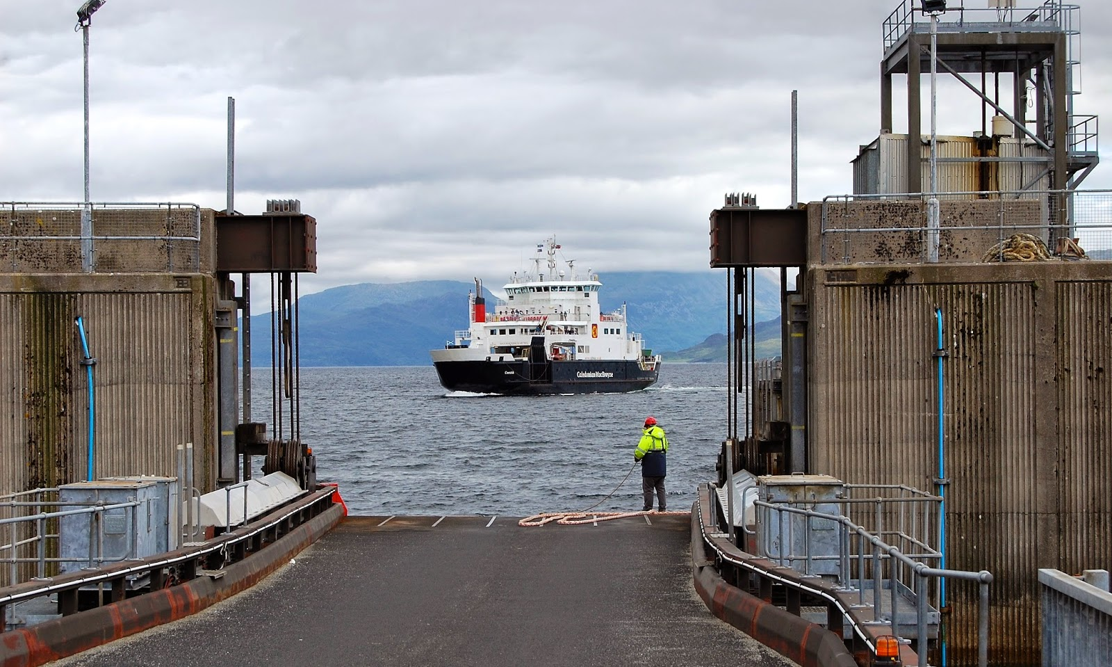Caledonian MacBrayne ferry boat arrives in Armadale, Isle of Skye