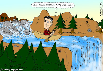 mitt romney paddling in canoe well thanks goodness that over with rapids stream rocks republican gop candidates bachmann perry cain gingrich santorum paul waterfall ahead obama elections
