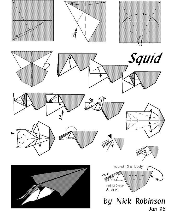 Origami Instruction Squid Origami Web Wanderers