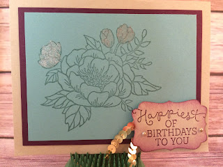 This blue & purple birthday card uses Stampin' Up!'s Birthday Blooms stamp set from the 2016 Occasions Catalog and the new Wink of Stella (Gold)!  www.stampwithjennifer.blogspot.com