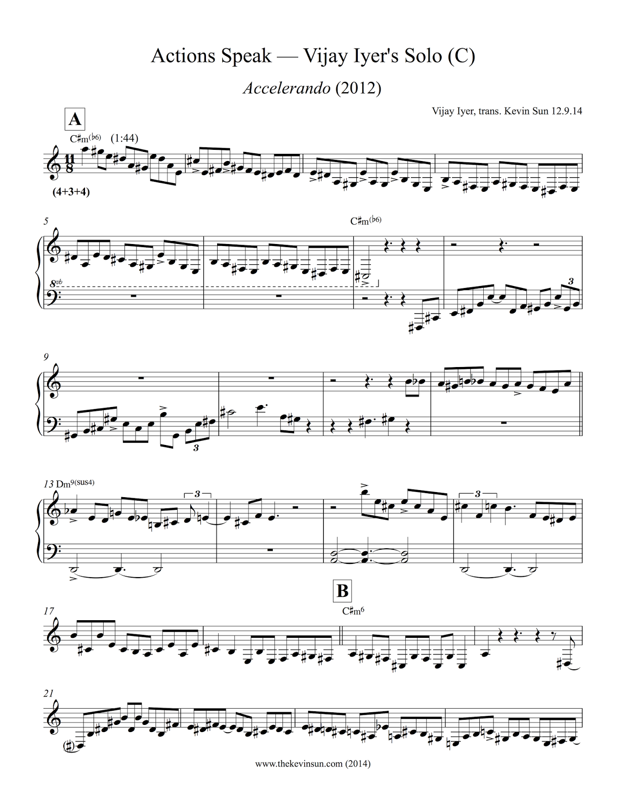 "Vijay Iyer Solo Transcription - ""Actions Speak"" 1"