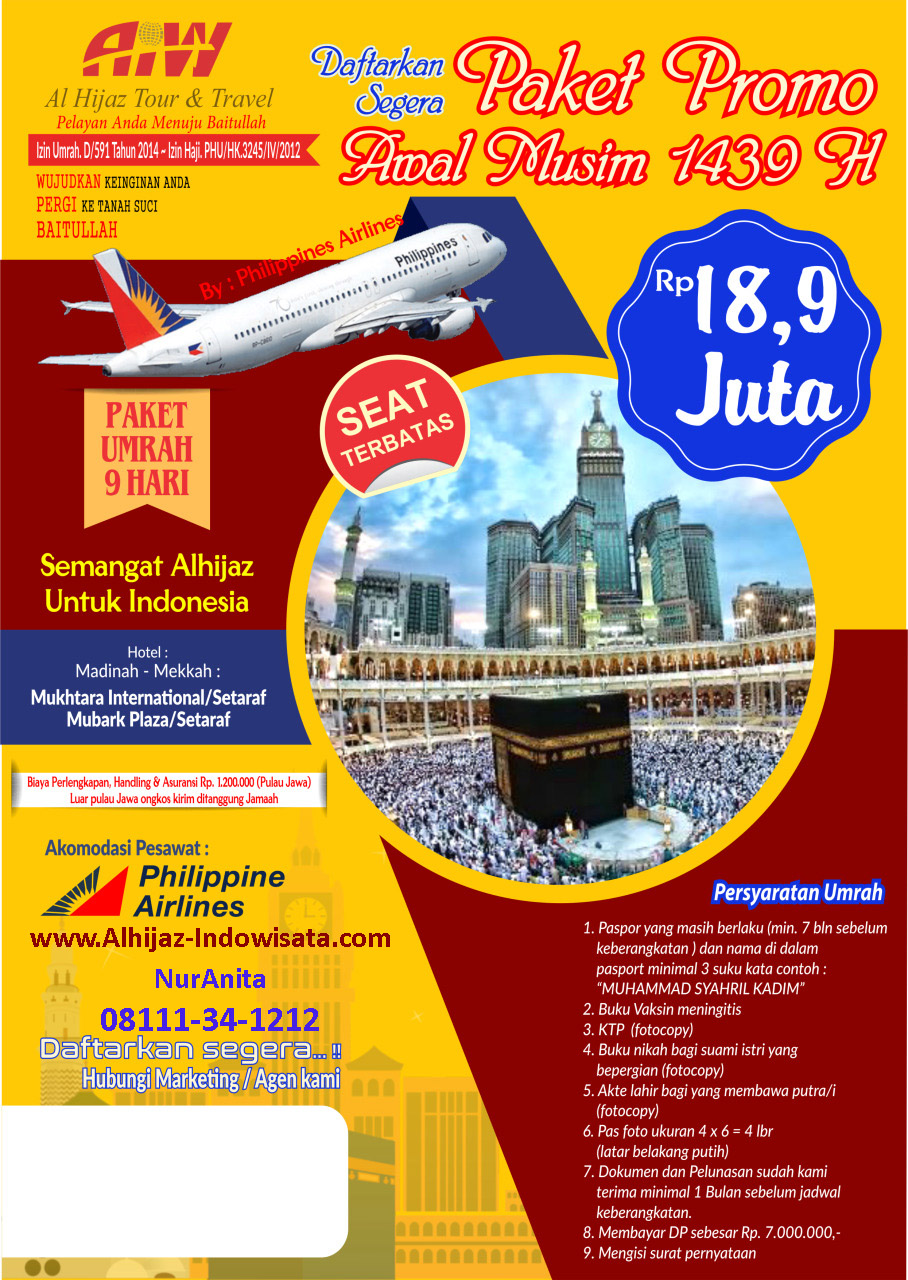 Promo Umroh Rp 18,9 jt     .............             CP.08111-34-1212