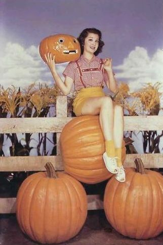 Ann Rutherford Perched Atop A Lot Of Pumpkin Pies Get To Carving Missy