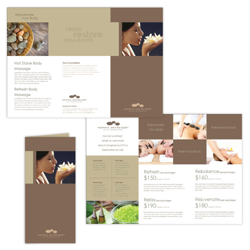 Brochure zafira pics free spa brochure templates for Spa brochure templates