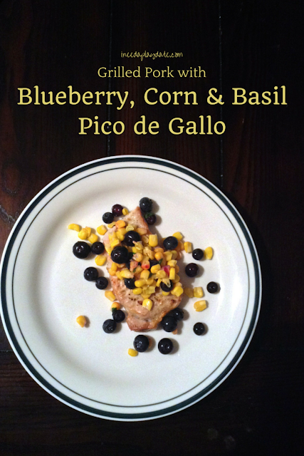 Fresh summer blueberries with corn and basil #recipe - perfect over grilled or broiled pork chops @mryjhnsn