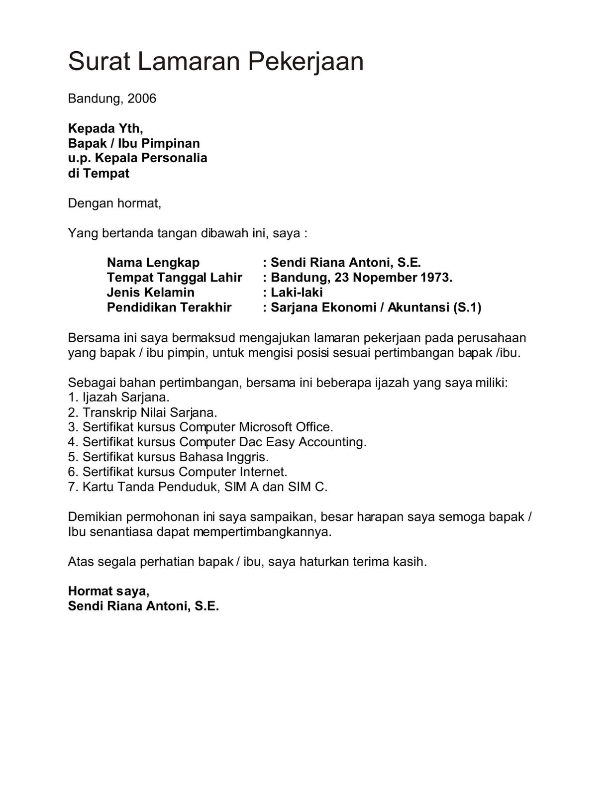 Contoh Surat Lamaran Kerja Dan CV Terbaru - Naranua