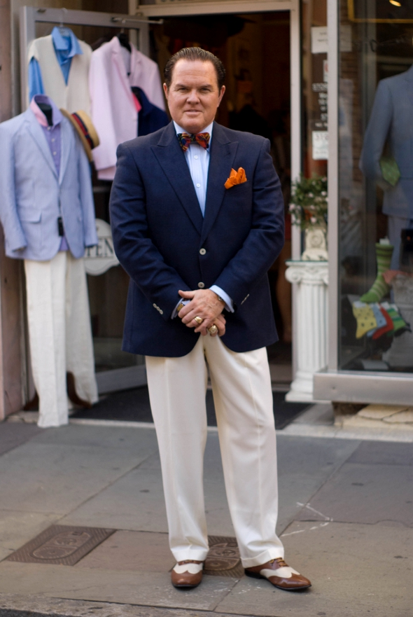 Mens fashion in Charleston, charleston street style, southern street style and fashion, blazer bowtie slacks and two tone brown wingtips