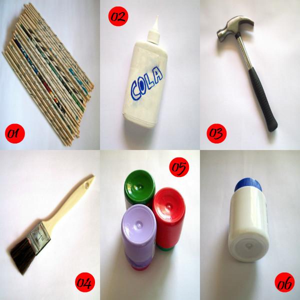 Artesanato, crafts, handmade, feito à mão, diy, eu que fiz, cola, canudinhos de jornal, martelo, pincel, tinta, verniz, base para artesanato, atelierwesleyfelicio.com.br