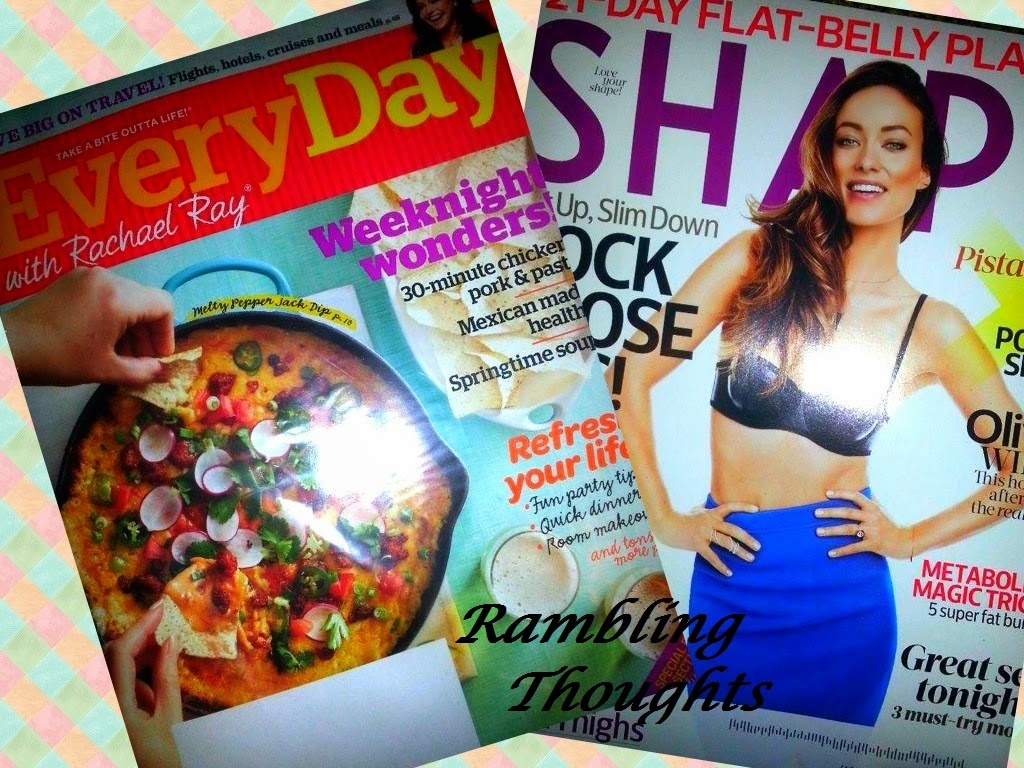Rambling Thoughts, bragging time, Mail call, free, Shape Magazine, Everyday with rachel ray magazine