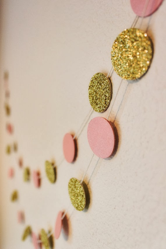 Gold and Blush Glitter Bokeh Paper Garland - Confetti - Round Circle Bunting - Wedding Decoration - Brithday Decor - Nursery - Bridal - Pink