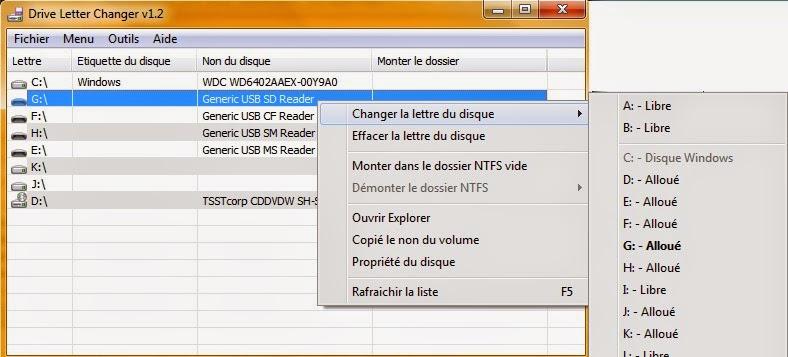 Capture-ecran dChanger pour changer la lettre d'un lecteur.
