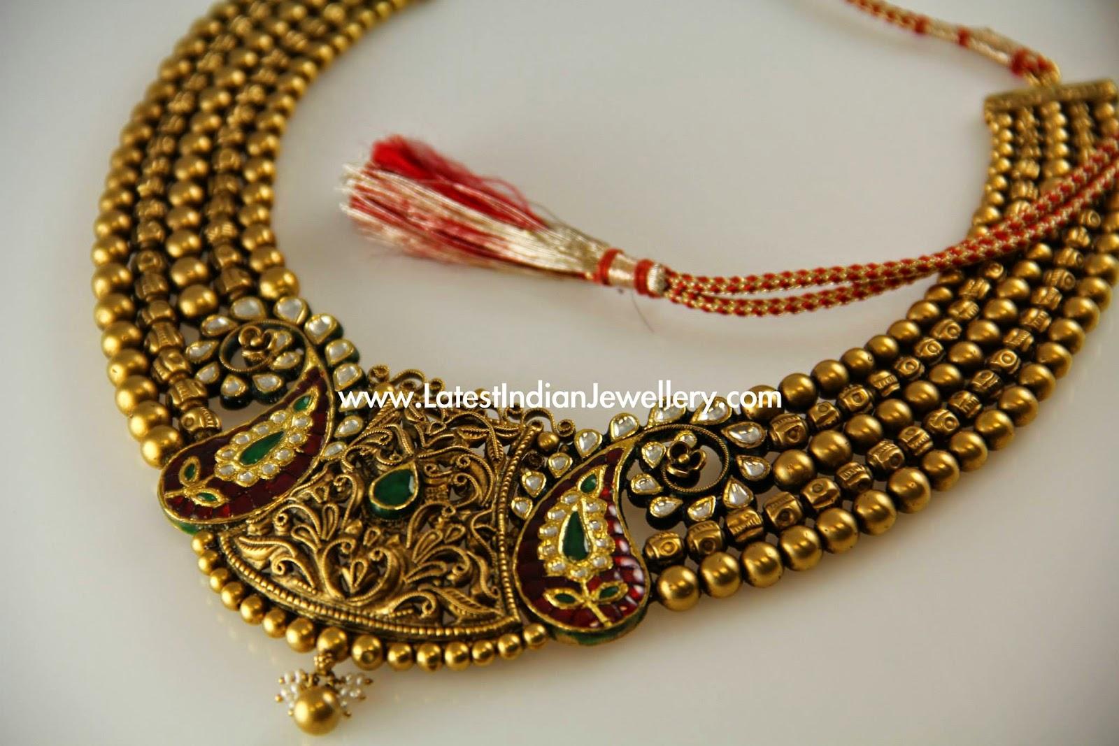 Nakshi Work Antique Gold Necklace