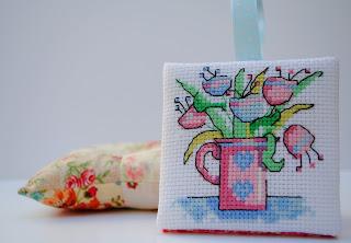 Floral Cross Stitch Finish, Flat Pin Keep Ornament