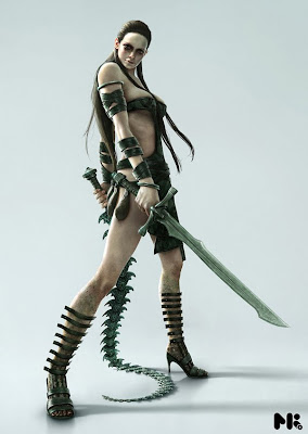 alien warrior fantasy art female future weapons