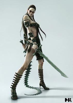 alien warrior fantasy art female future weapons
