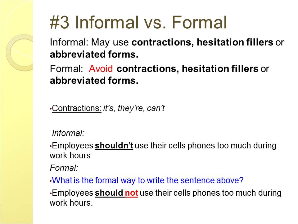english and esol lab workshops  formal vs informal writing