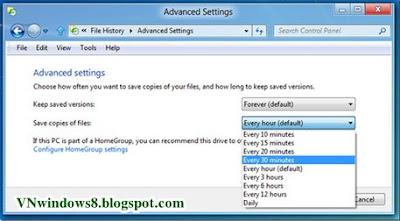 Làm sao để Sao lưu dữ liệu tự động trong Windows 8?