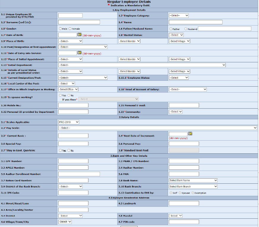 DDO User ManualGuide For Employee Data Capturing Application – Employee Registration Form