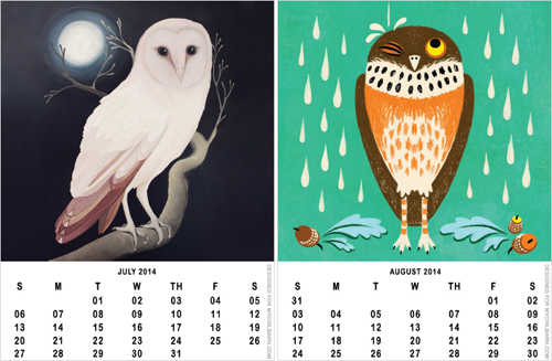 Printable 2014 owl calendar freebie