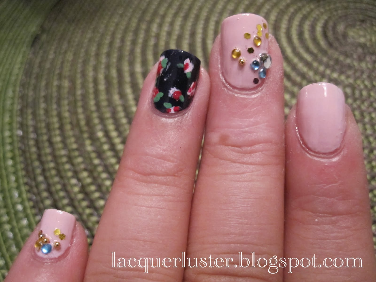 Lacquerluster: Pink Nails with Jewels and Floral Accent