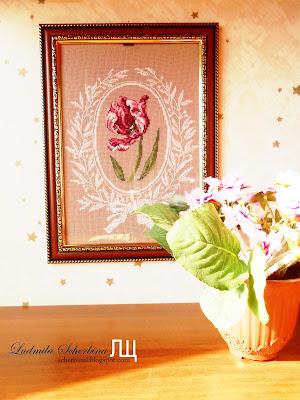 вышивка крестико тюльпан