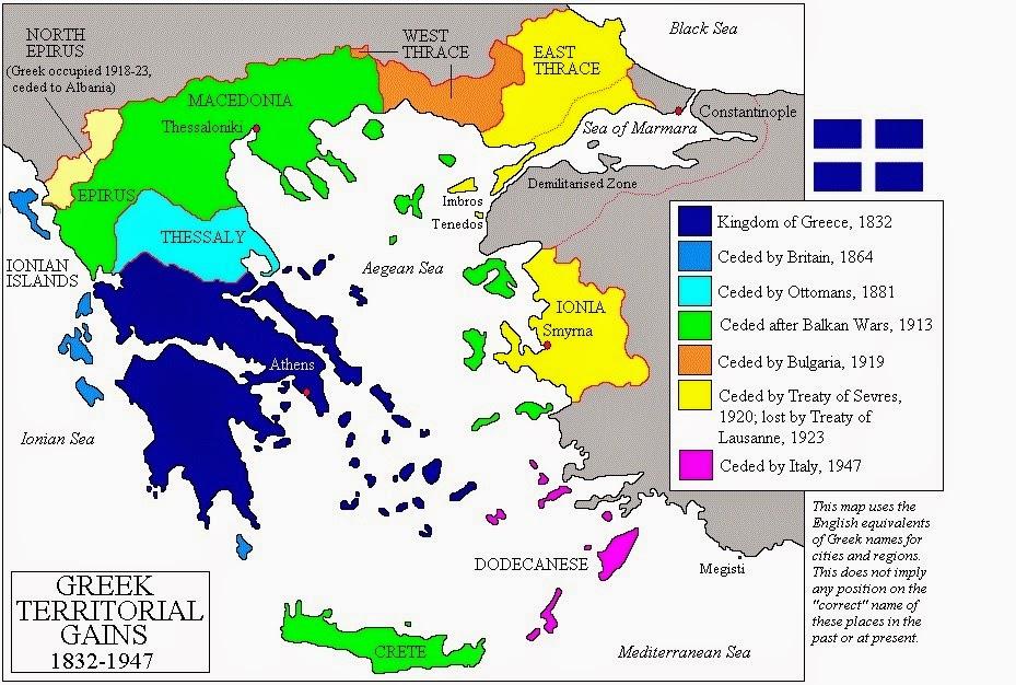 Szemléltető térkép. Görög territoriumok 1830-1950