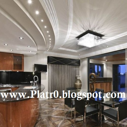 Decoration platre plafond salon for Deco cuisine haut plafond