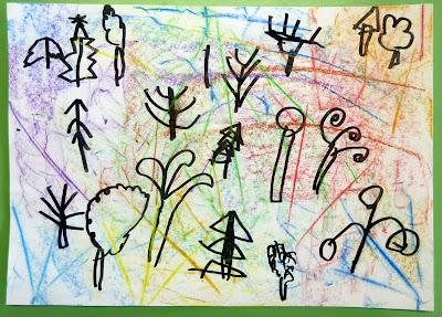 Empreintes de feuilles et arbres en graphisme