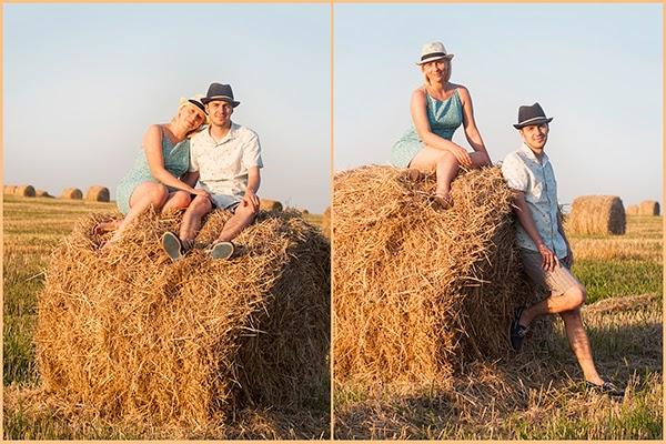 фото солома, влюбленные, пара, солома и шляпки, фото в поле, фото лавстори, фото закат солнца в поле, закат в поле, влюбленные в сене